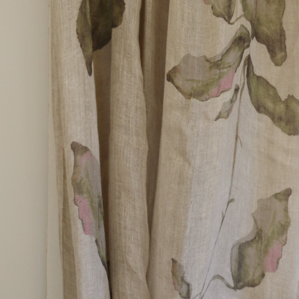 Set of two leaf linen voile curtains