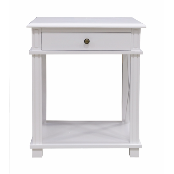 Bedside 1 Drawer cross Side white