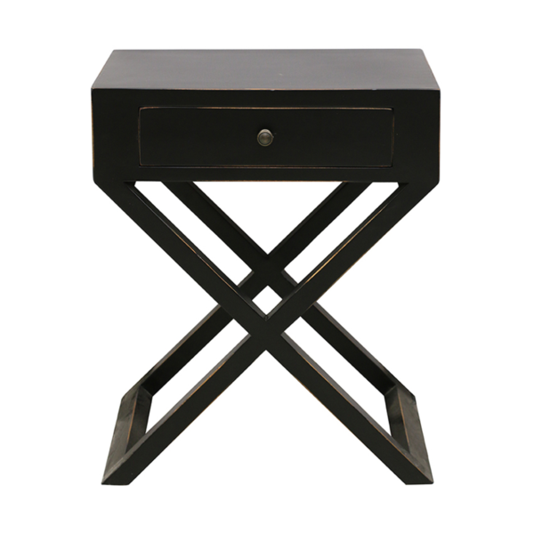 Cross Bedside Table Black