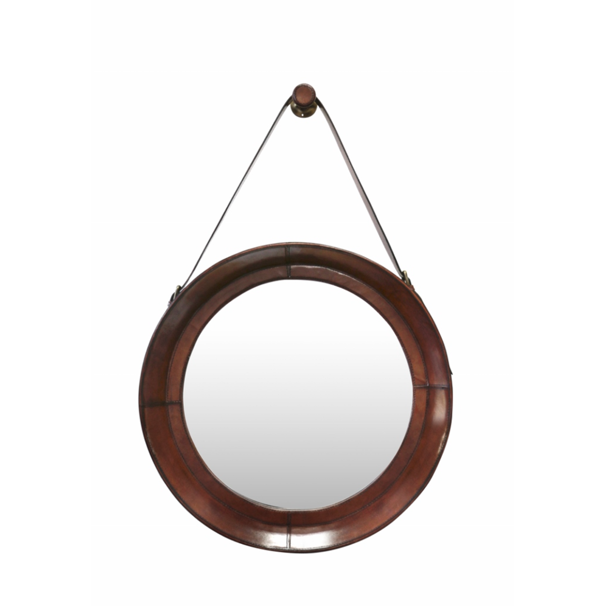 Leather Round Mirror Medium
