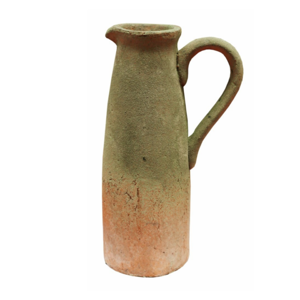 TERRACOTTA HANDMADE ORGANIC JUG WITH MOSS FINISH 28CM H
