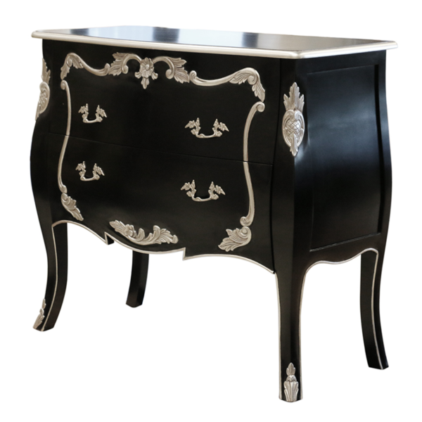 Silver Leaf Chest of Black Drawers