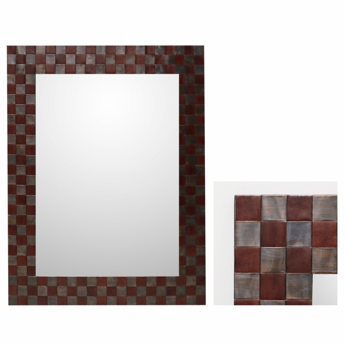 Leather oblong mirror