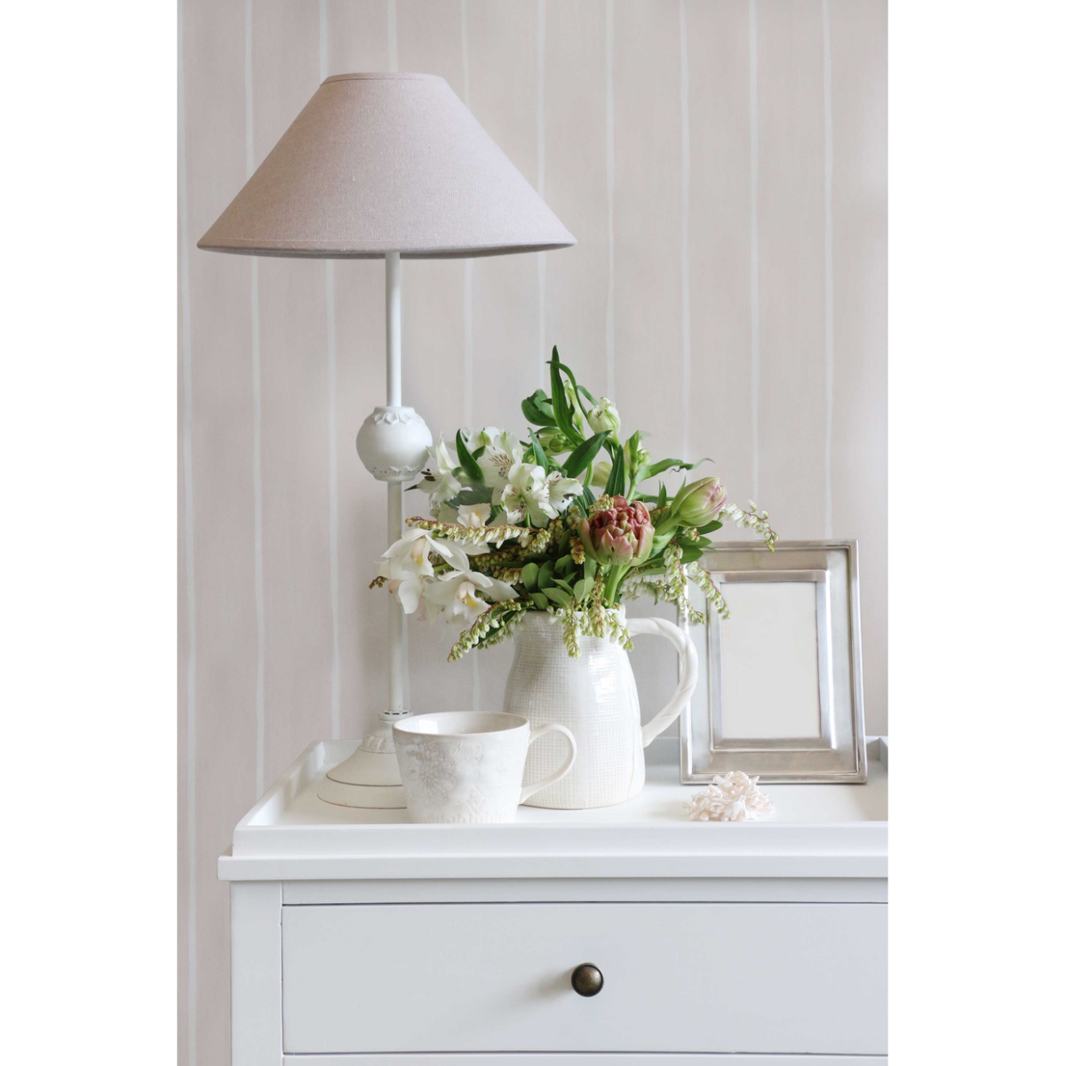 White Birchwood Bedside
