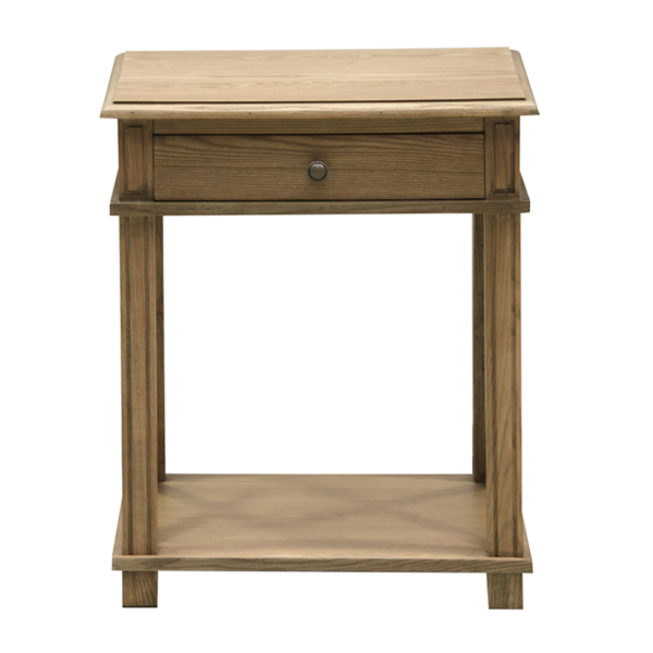 Bedside 1 Drawer Cross Side Natural Oak
