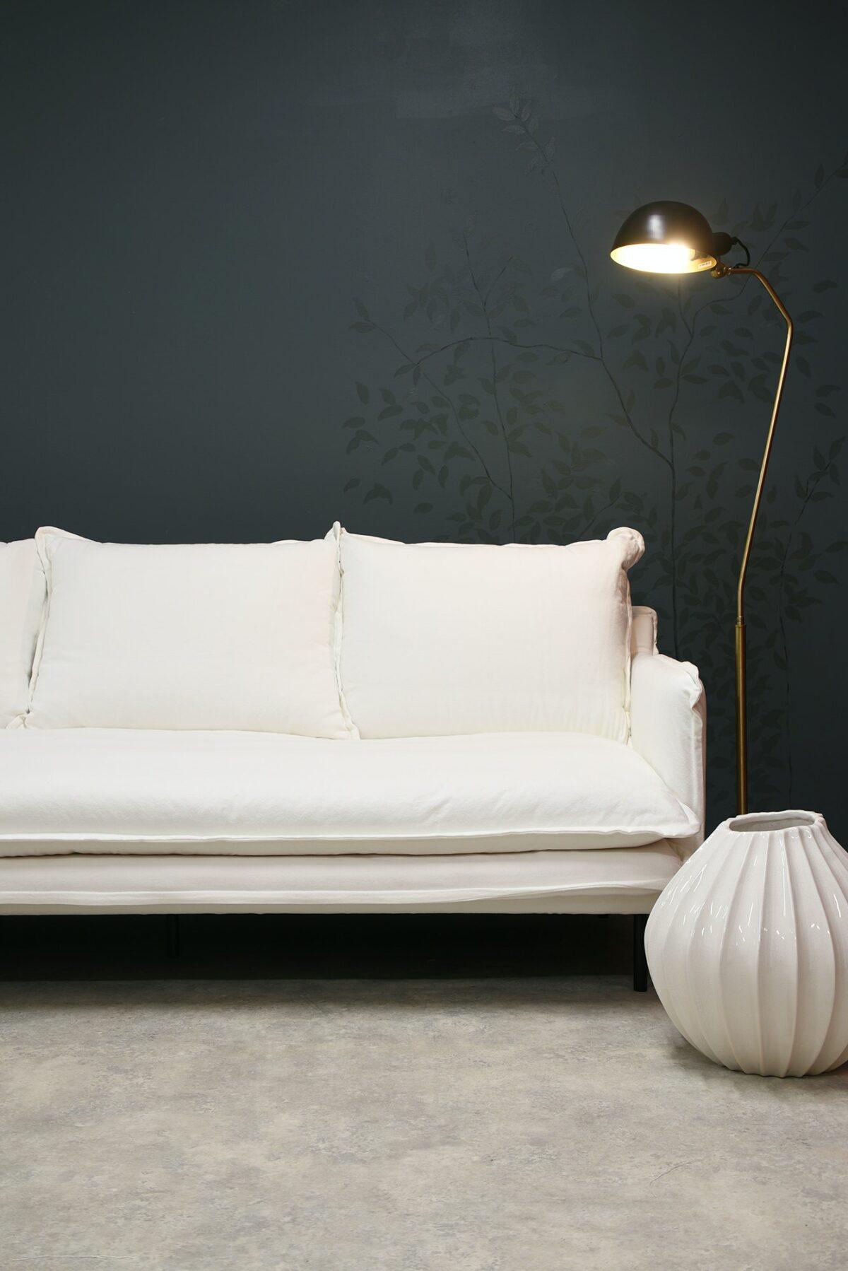 LOUIS Sofa 3-Seater w:3 Cushions White