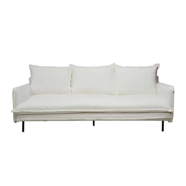 LOUIS Sofa 3-Seater w:3 Cushions White