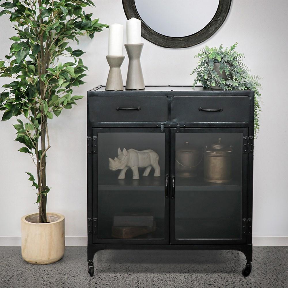 Bank Iron 2 Drawer Display Cabinet