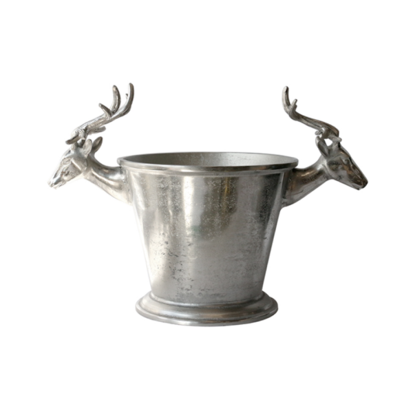 CHAMPAGNE BUCKET WITH DEER HEADS IN RAW NICKLE
