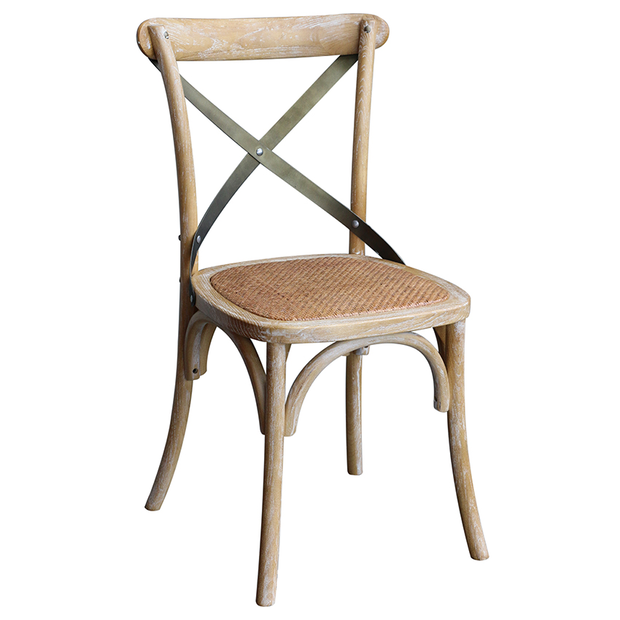 CROSS BACK DINING CHAIR WHITE WASH