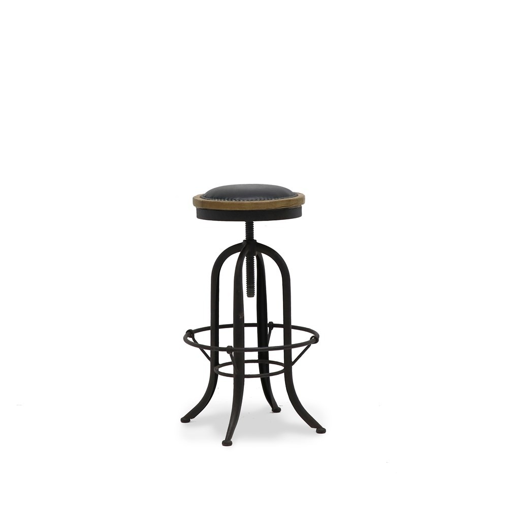 CLEMENT RUSTIC STOOL - LEATHER SEAT 2