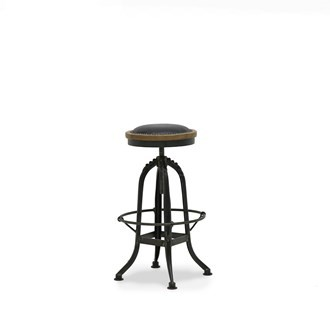 CLEMENT POLISHED STOOL - LEATHER SEAT