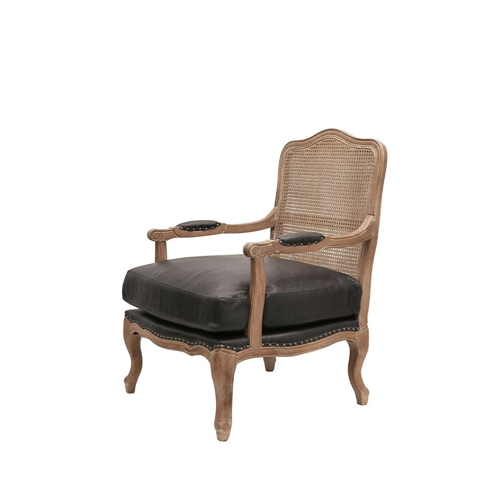 RHYS LEATHER And RATTAN ARMCHAIR
