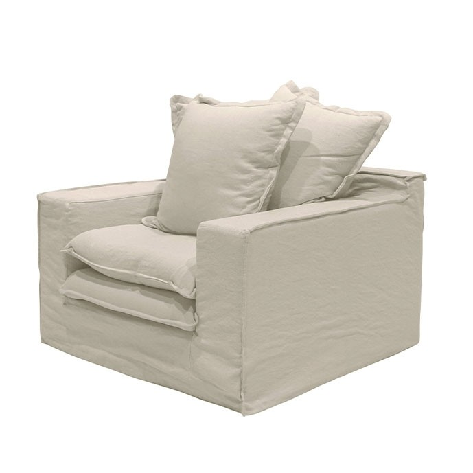 Keely slipcover Arm Chair Oatmeal