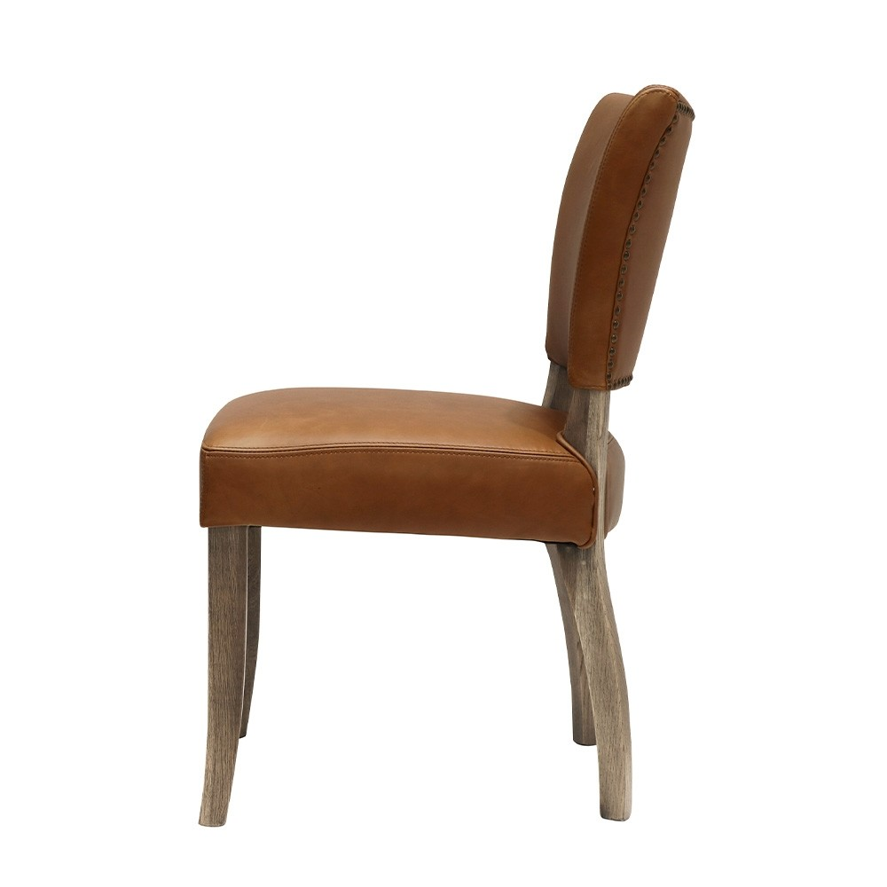 CRANE DINING CHAIR LEATHER - CHESTNUT