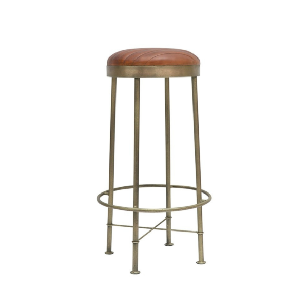 CHANDRI BRASS FINISH LEATHER BARSTOOL - 65CM