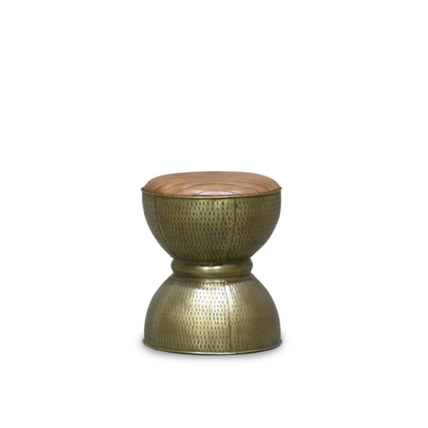 CHANDRI BRASS FINISH LEATHER DIABLO STOOL