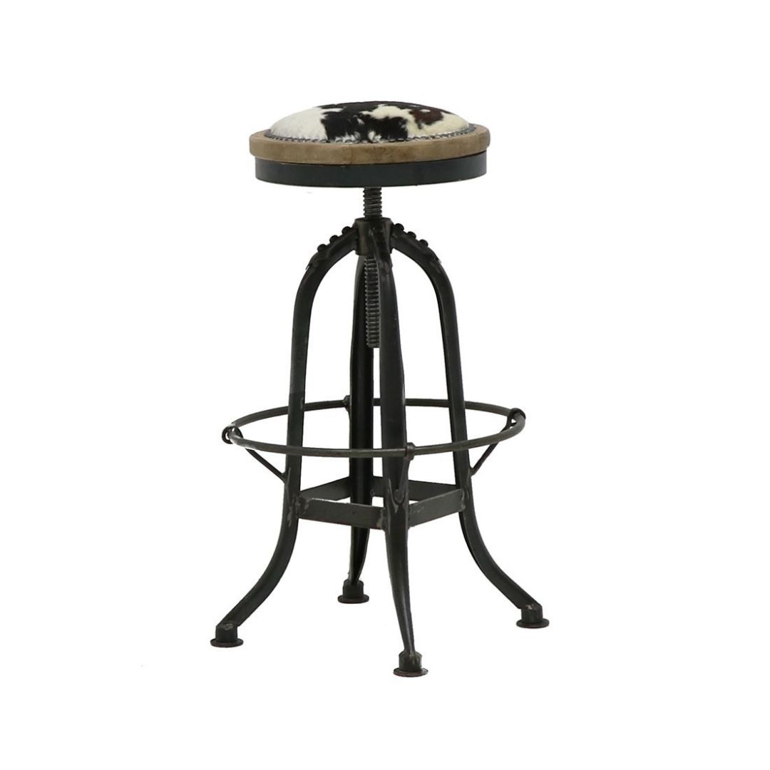 CLEMENT POLISHED STOOL - COWHIDE SEAT