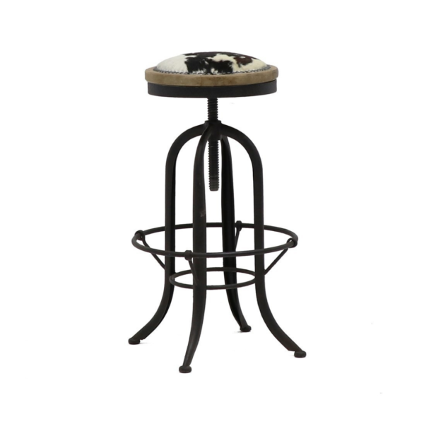 CLEMENT RUSTIC STOOL - COWHIDE SEAT 2