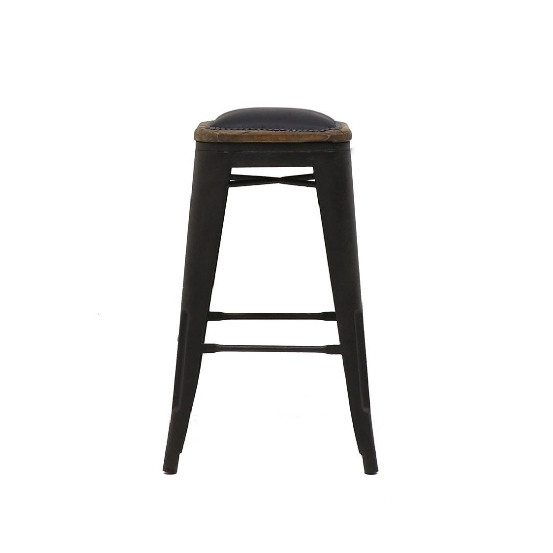 COLONIAL STOOL 65CM LEATHER SEAT 2