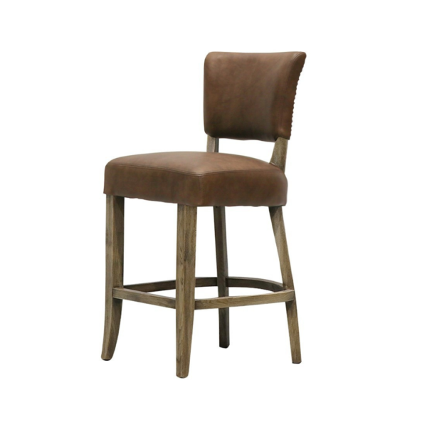 CRANE BARSTOOL LEATHER - BROWN