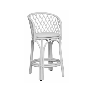 White rattan bar stool
