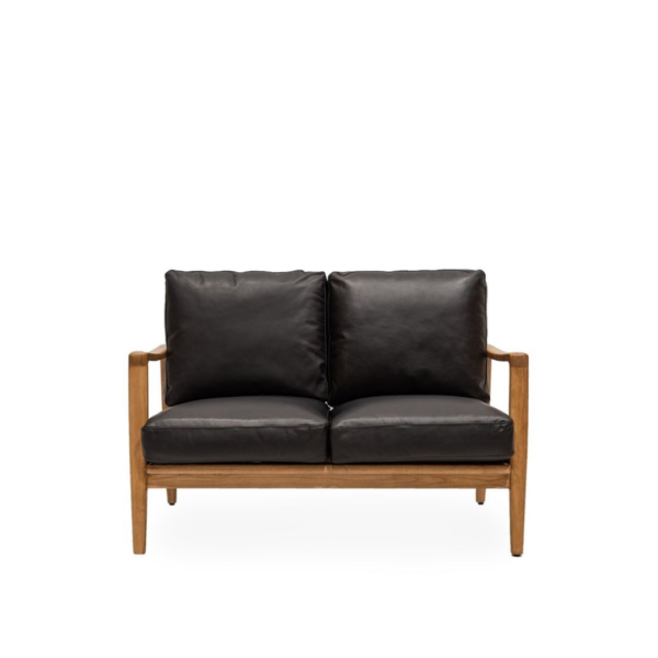 REID 2 SEATER SOFA - BLACK LEATHER - NATURAL FRAME