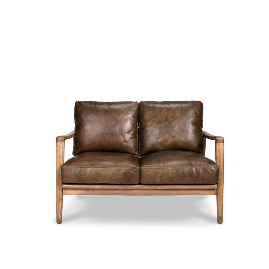 REID 2 SEATER SOFA - BROWN LEATHER