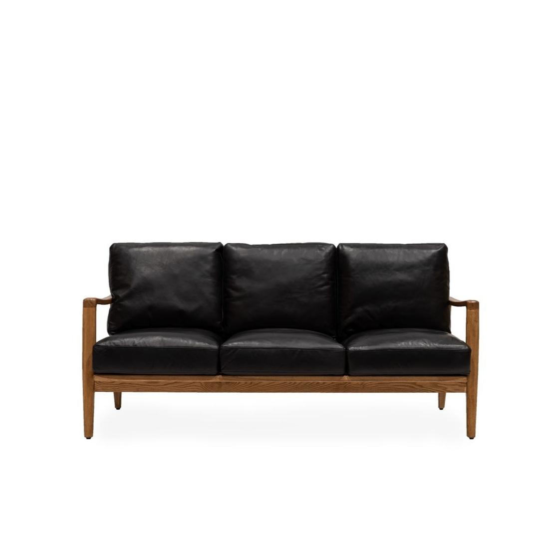 REID 3 SEAT SOFA - BLACK LEATHER - NATURAL