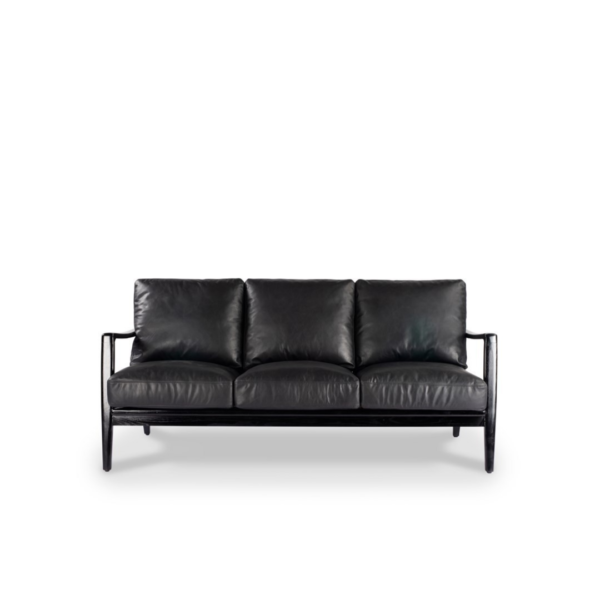 REID 3 SEATER SOFA - BLACK LEATHER - BLACK FRAME