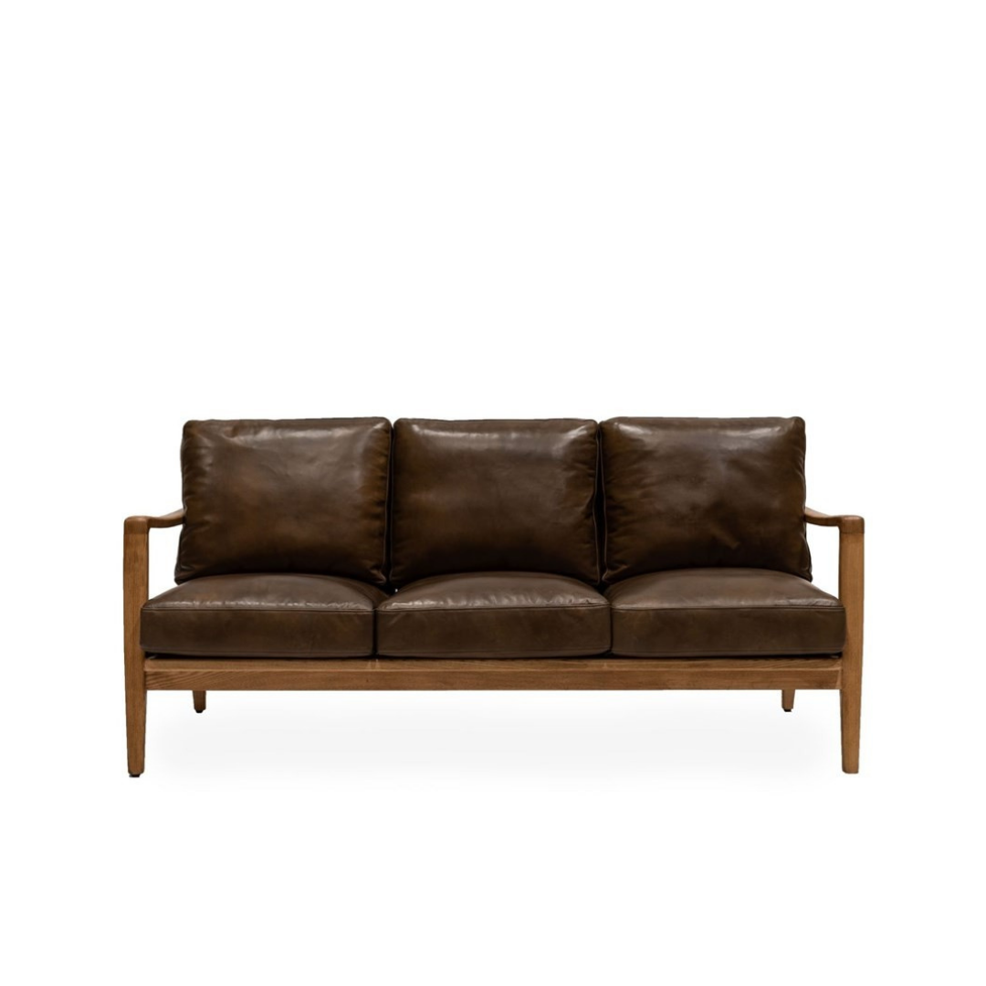 REID 3 SEATER SOFA - BROWN LEATHER