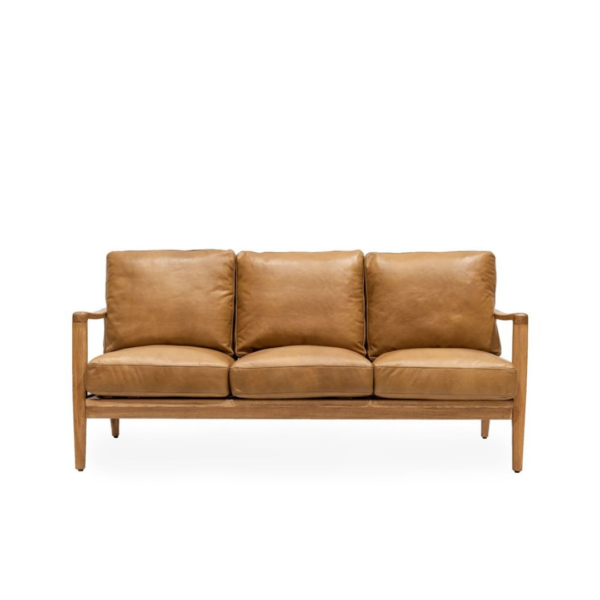 REID 3 SEATER SOFA - TAN LEATHER