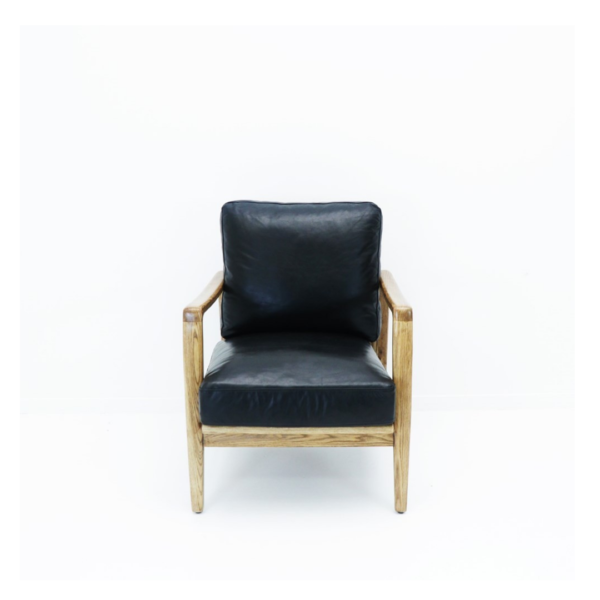 REID ARMCHAIR - BLACK LEATHER, NATURAL FRAME