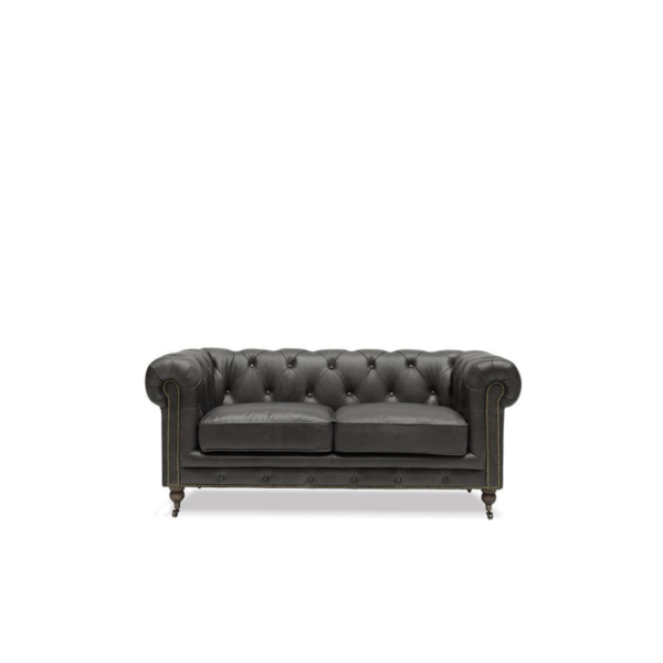 STANHOPE CHESTERFIELD - 2 SEATER, AGED ONYX