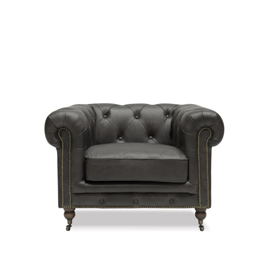 STANHOPE CHESTERFIELD ARMCHAIR - AGED ONYX