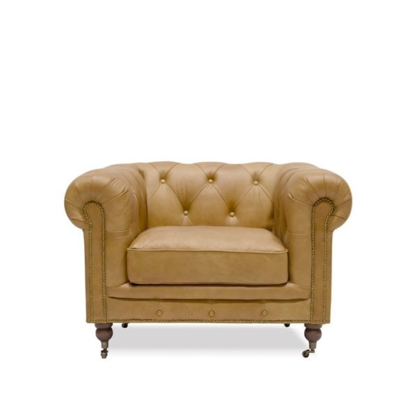 STANHOPE CHESTERFIELD Leather ARMCHAIR - CAMEL