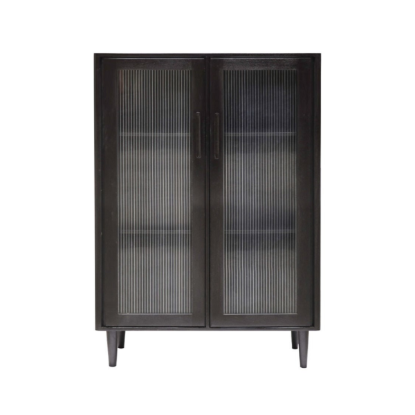 TATE GLASS DISPLAY CABINET BLACK - SHORT