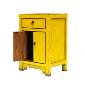 ORIENTAL PAINTED SIDETABLE YELLOW