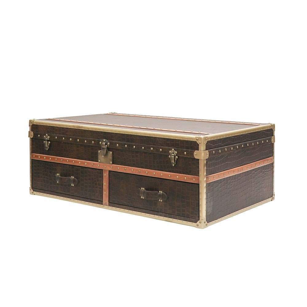 VOYAGER TRUNK COFFEE TABLE - AGED BROWN