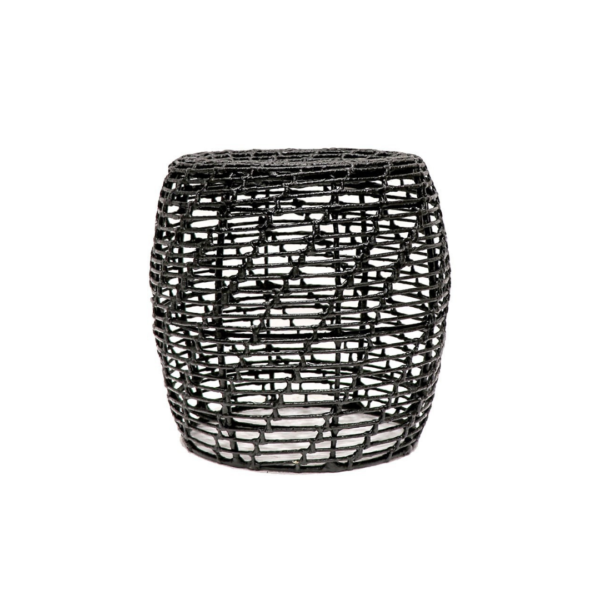 ABACA ROUND LATTICE SIDE TABLE - BLACK