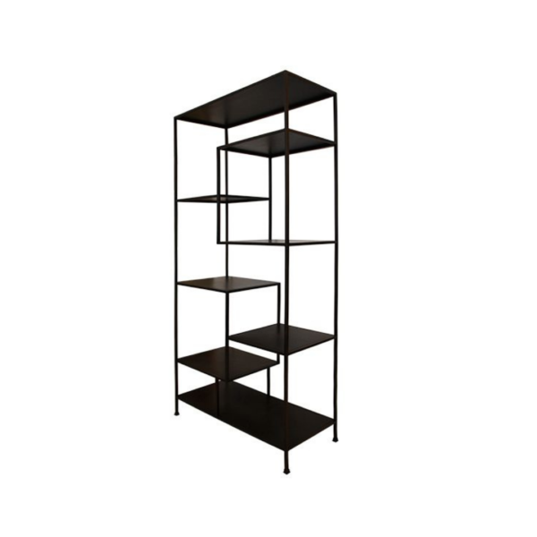 BLACK METAL STAGGERED SHELF