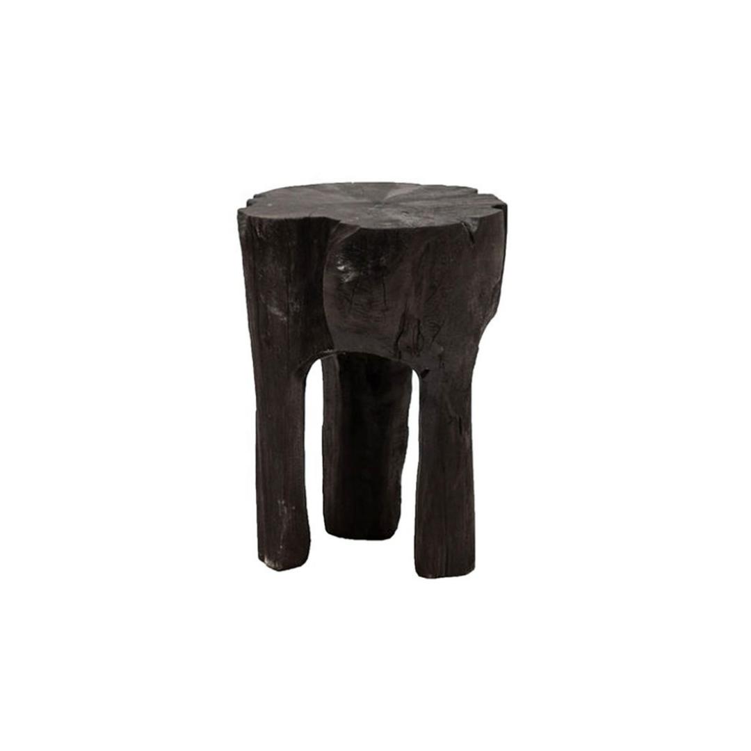 CRUSOE TEAK TOOTH SIDE TABLE - BLACK