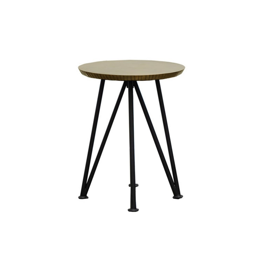 KEYA ANTIQUE BRASS SIDE TABLE - ROUND