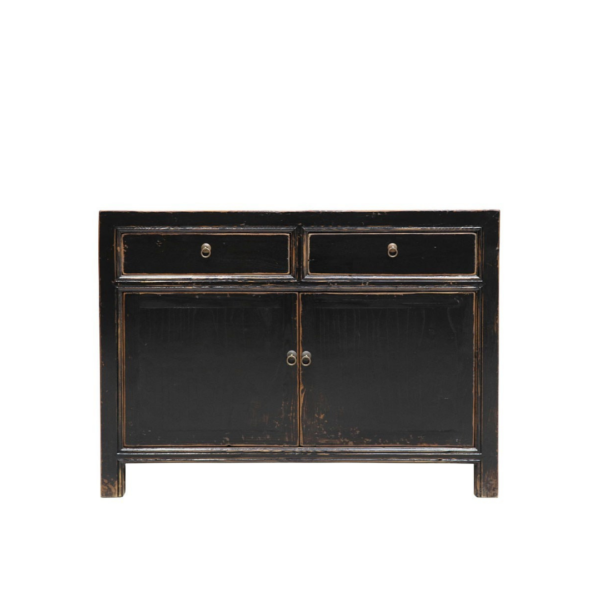 ORIENTAL PAINTED 2 DOOR SIDEBOARD BLACK