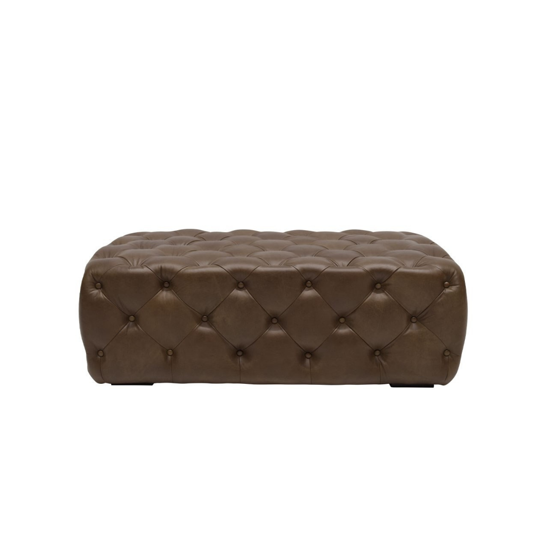 BUTTONED LEATHER OTTOMAN