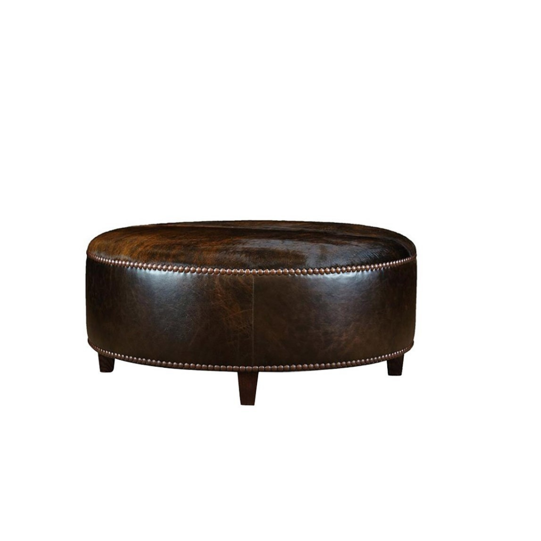 LEATHER COWHIDE ROUND OTTOMAN
