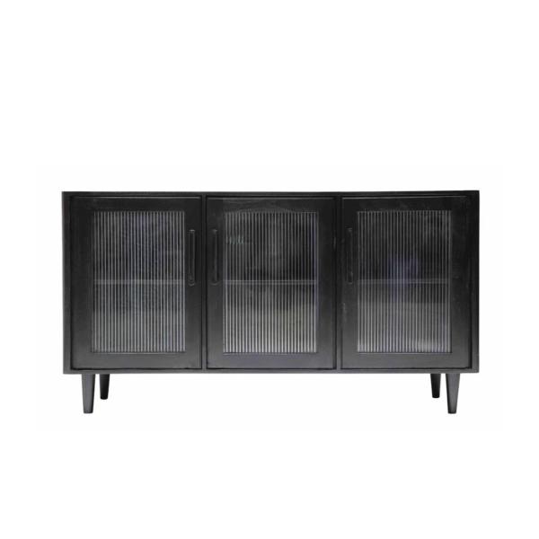 TATE GLASS SIDEBOARD BLACK - 3 DOOR