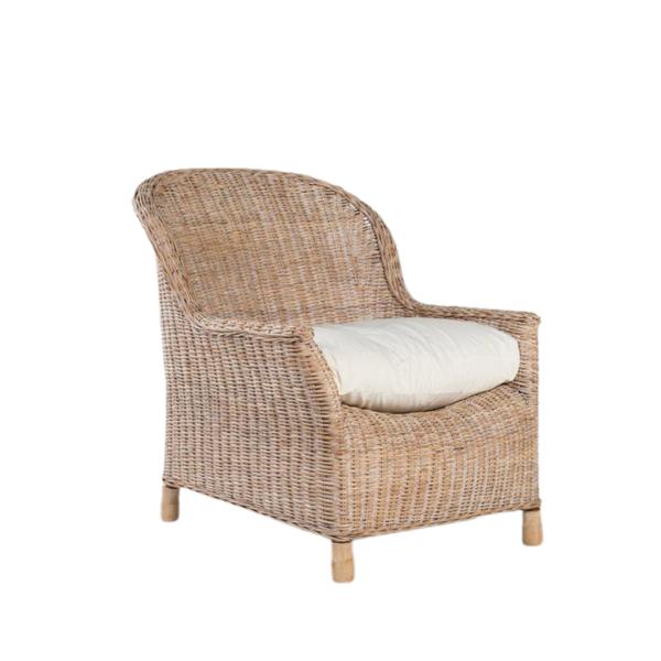 Rattan Gable lounge chair - Whitewash
