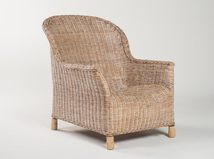 Rattan Gable lounge chair - Whitewash