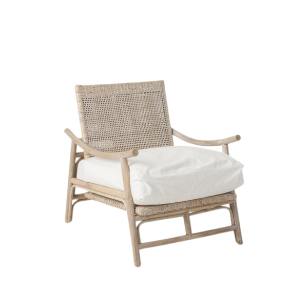 Rattan Slane lounge chair - Whitewash